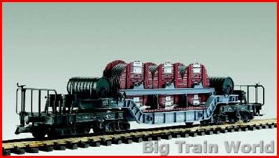 LGB 42580 - Low-loader car with cable drums, metal wheels, used, with box