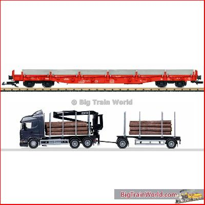 LGB 45921 - LGB 45921 - DB AG Stake car set with a semi-truck rig for lumber and