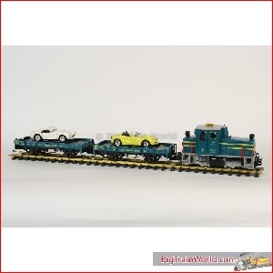 LGB 70520 - Car transport starter set, with yellow BMW and white Cobra