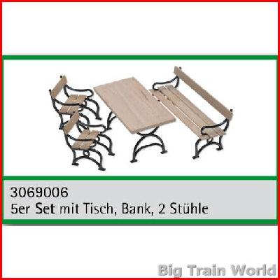 Train Line45 3069006   Set Mit Tisch, Bank, 2 Stühle/5 Sets With Garden  Bench, 2