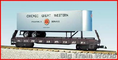 USA Trains R17023 - CHICAGO GREAT WWESTERN PIGGY-BACK F/C SILVER/BC RED