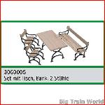Train Line45 3069005 - Set mit Tisch, Bank, 2 Stühle/set with garden bench, 2 ch